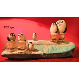 Pebbles & drift wood artwork - Penguins