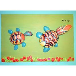 Pebbles & drift wood artwork - colorful cute turtles - green design