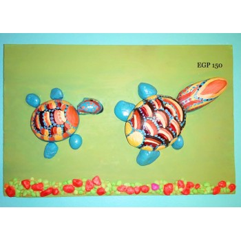 Pebbles & drift wood artwork - colorful cute turtles - green design