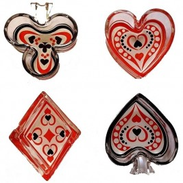 Cool Set of Playing Cards Suits Ashtrays - 4 Pieces