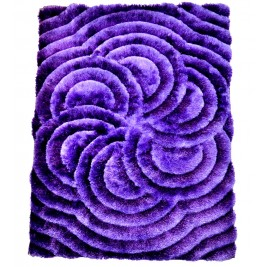 3D Mauve carpet - shaggy long pile - Flower Style