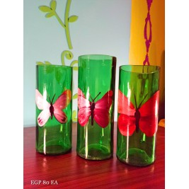 Handmade Vase - colorful butterflies design set of 3
