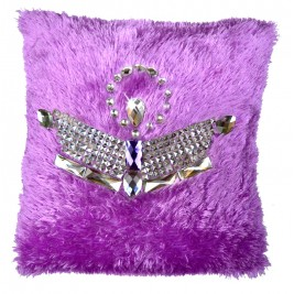 VAZA Handmade Royal Crown Cushion | Shaggy Short Pile Material with Crystals and Rhinestones