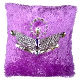 VAZA Handmade Royal Crown Cushion | Shaggy Short Pile Material with Crystals and Rhinestones