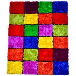 3D colorful cubes carpet - shaggy long pile