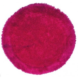 Shaggy Long Pile Circular Carpet with Shiny strings - Fuchsia