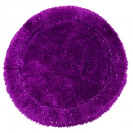 Shaggy Long Pile Circular Carpet with Shiny strings - Purple
