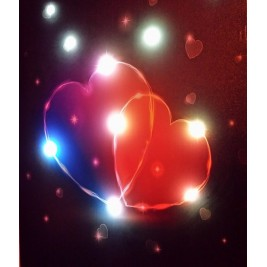 LED Canvas Two Hearts Hugging Wall Painting