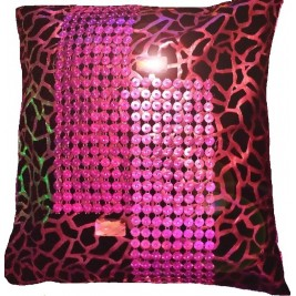 VAZA Handmade Golden Cushion | Rhinestones Mesh Design