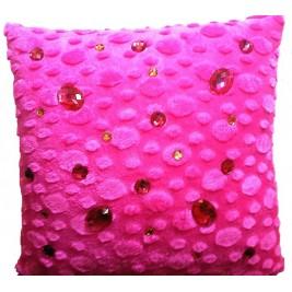 VAZA Handmade Fuchsia Cushion - Crystals Design