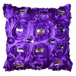 VAZA Handmade 3D Flowers Cushion - Crystals Design