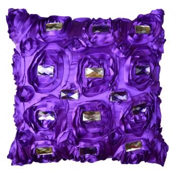 VAZA Handmade 3D Flowers Cushion - Crystals Design