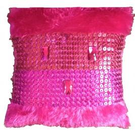 VAZA Handmade Shaggy Short Pile Cushion - Rhinestones mesh design