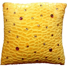 VAZA Handmade Yellow Cushion - Crystals Design
