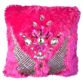 VAZA Handmade Crystal Wings Cushion | Shaggy Short Pile Material with Crystals and Rhinestones