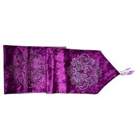 Velvet Table Runner - Rhinestones Design - Purple