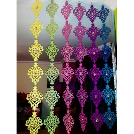 Decorative colorful wooden curtain