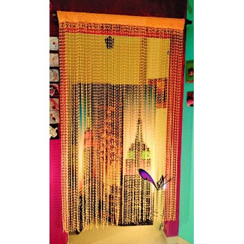 Crochet yellow handmade curtain - 135x220 CM